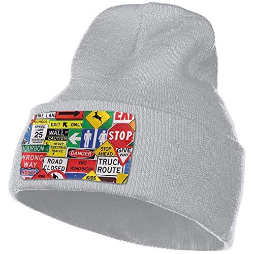 AEMAPE Unisex Beanie Hat Señales de tráfico Gorro de Punto Gorro de Calavera