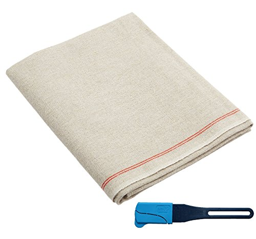 Premium Professional Bakers Couche  35quotx26quot 100% Flax Linen Heavy Duty Proofing Cloth from Tissage Deren of France with One Bonus Mure amp Peyrot Fixed Blade Lame by BrotformDotCom