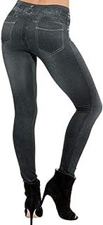 vanberfia Women's Denim Print Fake Jeans Full Length Leggings