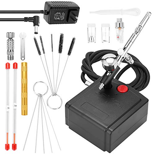 KKmoon Air Compressor Airbrush Kit for Model Making,Art Painting,with Air Compressor and 2 needle+2 nozzle+G1/8 Fast-adapter+Wrench+Hose+Golden Airbrushneedle Tool+Oil-water Separator+Dropper