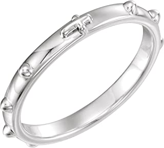 Rosary Ring in Sterling Silver - Size 7