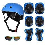 FORMIZON Set de Protección Infantil, Set de Protección Patinaje, Ajustable Casco Rodilleras Coderas y Muñequeras Niño Gafas de Sol para Bicicleta Patinaje Esqui Scooter (Azul)