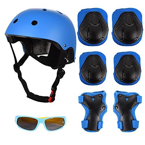 FORMIZON Protettivo Kids Protective Gears, Protezione Kit per Bambini, Protettivi dei Bambini Set, Regolabile Casco Ginocchiere Gomitiere Bracer Occhiali da Sole per Skate Bicicletta Sci Scooter (Blu)
