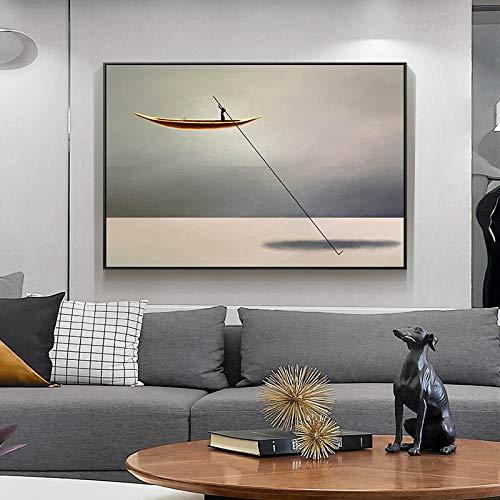 N / A Impresión en Lienzo mar Barco Dorado Pintura Abstracta en Lienzo nórdico Cartel Vintage impresión Obra de Arte Pared Arte decoración Imagen decoración del hogar decoración del hogar