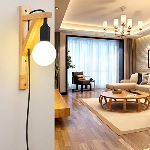 LKJH eenvoudig en elegant design eenvoudige houten kap Aisle-woonkamer-wandlamp zonder lichtbron (rood)