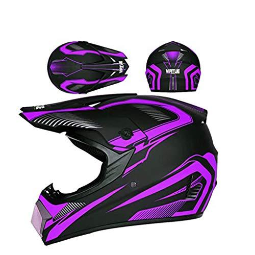 ZUCAI Casco integral de motocross todoterreno para adultos, con guante cruzado y máscara y gafas para locomotora, karting, todoterreno, motocicleta, carreras de carretera, BMX, morado, S
