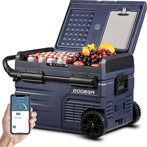 BODEGA Kompressor Kühlbox Auto Kühlschrank, 35LTragbarer Elektrische Kühlschrank, Doppelzone, APP-Steuerung, 12/24V DC und 100-240V AC für Outdoor, Fahrzeuge, Camping, Reisen
