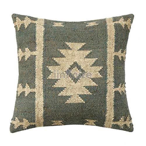 iinfinize Vintage Kilim Funda de cojín de sala de estar decorativa almohada bohemia almohada de lana Jute Funda de almohada cuadrada sofá almohada Hippie Sofá Sham (gris)