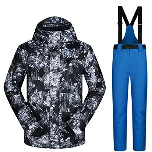 TIANYOU Hombres Traje de Esquiar de Chapa de Doble Placa Esqui Invierno Impermeable Resistente Al Viento Profesión Chaqueta de Esquí Pantalones de Esquí Adecuado para Deportes Al