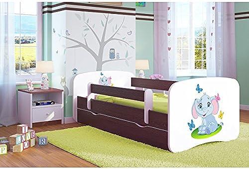 CARELLIA 'Kinderbett Elephant 80 180cm   mit Barriere Sicherheitsschuhe + Lattenrost + Schubladen + Matratze Ofürt. Wenge