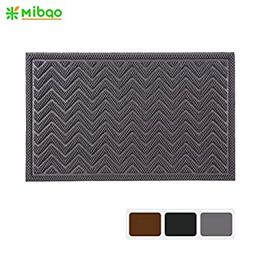 Mibao Durable Rubber Doormat, 18 x 30  Low-profile Waterproof, Non Slip, Easy Clean, Washable Indoor/Outdoor Mats for Entry, Patio, Bathroom