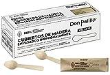 DON PALILLO - 100 cucharillas de madera desechables envueltas individualmente en papel kraft. Ideales para café, infusiones, postres.