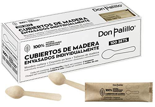 DON PALILLO - 100 cucharillas de madera desechables envueltas individualmente en papel kraft. Ideales para café, infusiones,...
