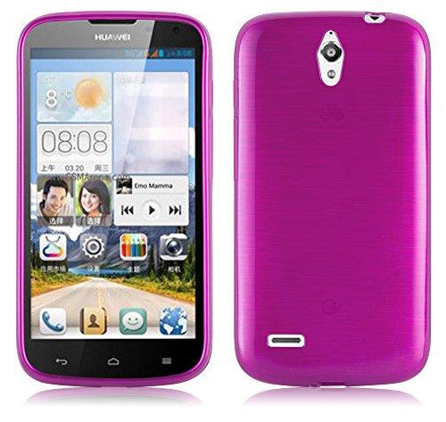 Cadorabo Hülle für Huawei Ascend G610 - Hülle in PINK – Handyhülle aus TPU Silikon in gebürsteter Edelstahloptik (Brushed) Silikonhülle Schutzhülle Soft Back Cover Case Bumper