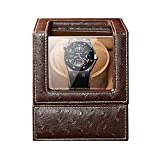 Enrollador automático de Relojes, Relojes y Joyas Caja enrolladora automática de un Solo Reloj 5 Modos de rotación Fuente de alimentación Dual Almohada Flexible para Reloj Patrón de Avestruz Cuero