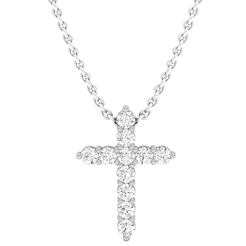 3490426a0 Dazzlingrock Collection 14K Round Gemstone Ladies Cross Pendant (Silver  Chain Included), White Gold