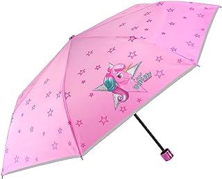 Ombrello Unicorno Mini Bambina - Ombrello Pieghevole Bimba Rosa con Bordino Argento - Resistente e Sicuro in Fibra di Vetr...