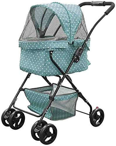 Pet Trolley, Pet Stroller 4 Wheels Travel Stroller Dog Cat Pushchair Puppy Folding Carrier Storage Basket + Cup Holder (Color : Yellow) (Color : Yellow) Firm