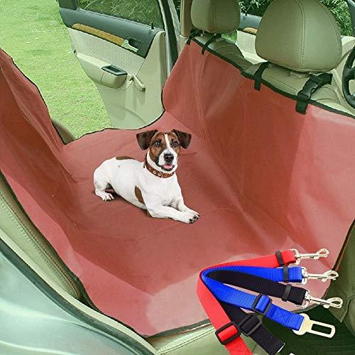Pack 2 en 1: Funda Protectora de Asientos y Enganche cinturón de Seguridad para Perros para el Coche Granate (145 x 130 cm) | Enganche Universal a cinturón de Seguridad del vehículo