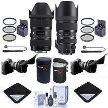 Sigma 18-35mm F/1.8 DC HSM ART Lens with 50-100mm f/1.8 DC HSM Art Lens for Nikon SLR Cameras - Bundle w/2x Filter Kits, 2x Lens Case, 2x Lens Wrap, 2x LensCap Leash, 2x Flex Lens Shade, Cleaning Kit