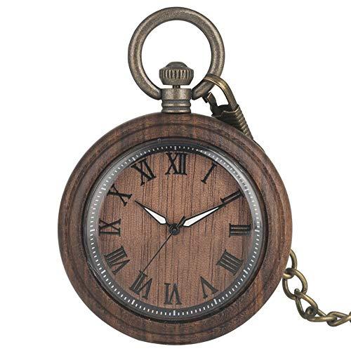 RWJFH Reloj de Madera Reloj de Madera marrón café Reloj Colgante Antiguo Relojes de Bolsillo de Cuarzo Números Romanos Reloj Colgante Reloj Cadena de Bronce