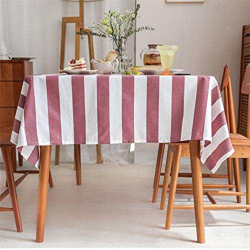 HPX HOME 2pcs Red Striped Linen Tablecloth Dust-Proof Stain Resistant Rectangle Table Cover for Kitchen Dining Party Patio Indoor Outdoor Farmhouse Living Tabletop Decoration