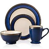 Juego De Cena Europea Retro de cerámica vajilla Creativo Esmalte Azul Cobalto Plato Western Set Platos Ensaladera Taza 4 PCS Fácil De Limpiar Y Mantener (Color : Blue, Size : 4 pcs)