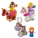Little People Fisher Price Disney Princess and Horse Bundle- Belle and Phillippe, Anna and Sven and Rapunzel and Maximus