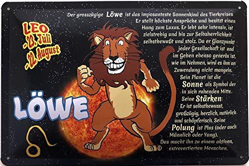 Deko7 blikken bord 30 x 20 cm Leo 23 juli - 22 augustus - sterrenbeeld Leeuw