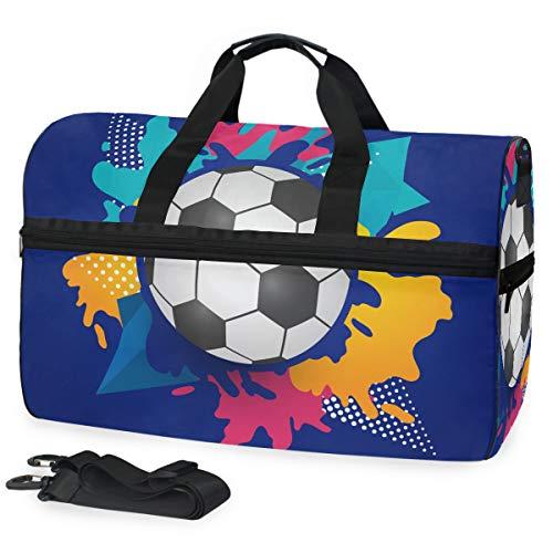 Pallone Da Calcio Calcio Acquerello Blu Borsa da Palestra Sportiva da Nuoto con Scomparto per Scarpe Borsone A Tracolla Borsa da Viaggio per Donna da Viaggio