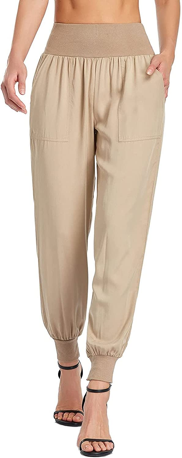 BHUI Women's Casual Pants Solid Color Elastic High-Waist Ankle-Length Pants Pencil Pants with Pockets