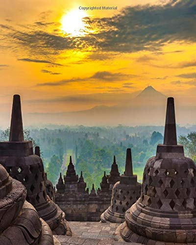 Composition Notebook: Pretty Wide Ruled Workbook and Journal with 129 Pages, 8x10 in | Blank Lined Composition Book for School, College and University | Magnificent Candi Borobudur At Sunrise