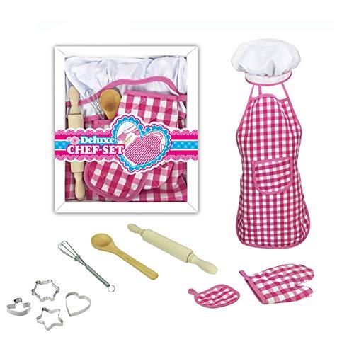 HEYXI Traje de Chef para niñas, niños, Regalos para niñas de 3 a 8 años, Delantal de Chef, Gorro y Hornear para cocinar
