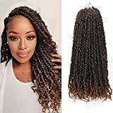 Eliza 8 Packs Pre-twisted Passion Twist Crochet Hair Ombre Brown Hand-made Pre looped Passion Twist Crochet Hair Easy to Install Crochet Braids(20inches, 12Strands/pack,T1B/30)