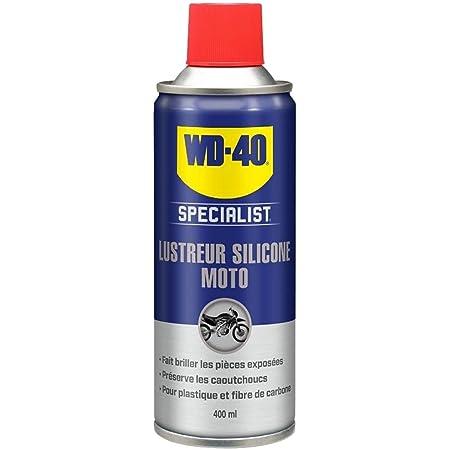 """WD-40 Specialist Moto • Lustreur Silicone • Aérosol • Superbe brillance • Empêche le caoutchouc de craqueler et vieillir • Parfum fruité, souvent assimilé à l'odeur """"bubble gum"""" • 400 ML"""