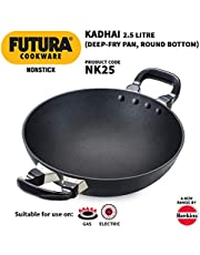 Hawkins - Q54 Futura Non-Stick Kadhai Deep-Fry Pan, 2.5 Litres/26cm, Black