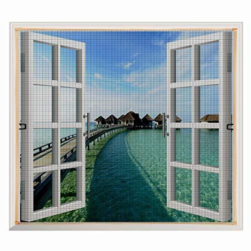 Copechilla Mosquitera ventana 1.3m x 1.5m gris,con correa adhesivo,fácil instala y puede lavar y duradero,para interior,exterior,plástico,madera,aluminio de la ventana