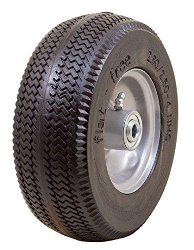 Marathon 2.80/2.50-4' Flat Free Hand Truck / Utility Cart Tire on Wheel, 3'Centered Hub, 1/2' Bearings