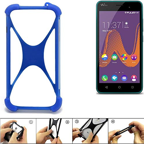 K-S-Trade® Handyhülle Für Wiko K-Kool Silikon Schutz Hülle Cover Case Bumper Silikoncase TPU Softcase Schutzhülle Smartphone Stoßschutz, Blau (1x),