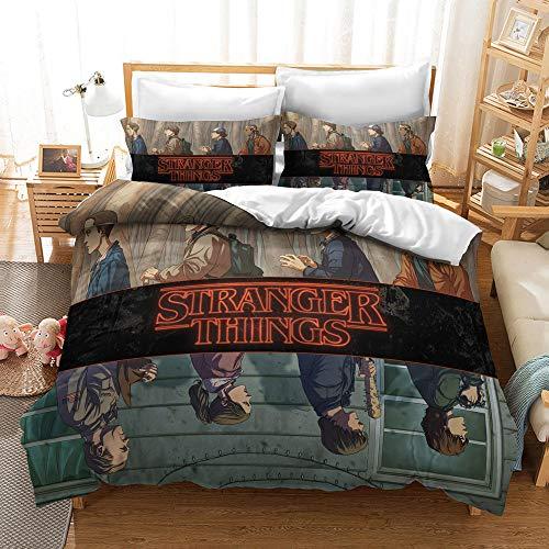 Meiju Duvet Cover Set for Boy Girl Single Double King Bed, 3D Printed Teenager Children Kids Bedding Set with Microfiber Zipper Quilt Case & Pillowcases (Stranger Things 9,140x200cm)
