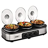 Triple Slow Cooker Buffet Server, 3 Pot Crock Pot Food Warmer, 4.5 QT Food Warmer Adjustable Temp Lid Rests Stainless Steel (Renewed)