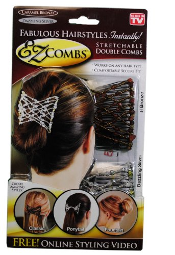 As Seen On Tv Ez Combs Stretchable Double Combs - Caramel Bronze/Dazzling...