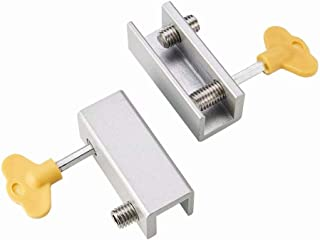 Corredera de seguridad deslizante ajustable Bloqueo del marco de la puerta Tope Cuña Restrictor de marco de ventana de seguridad para niños con llave Larga 2 juegos