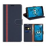 COODIO Motorola Moto G6 Hülle Leder, Moto G6 Kapphülle Tasche Leder Flip Cover Schutzhülle Rugged für Motorola Moto G6 Handyhülle, Dunkel Blau/Rot