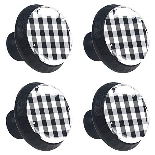 Zwarte witte spiraalronde keukenkast knoppen, dressoir lade knoppen, paddestoel badkamer kast 3.5×2.8CM/1.38×1.10IN Zwart Wit Grijs Plaid