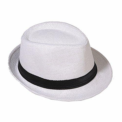 Strohhut Panama Fedora Trilby Gangster Hut Sonnenhut mit Stoffband Farbe:-Weiß (Strohhut) Gr:-58