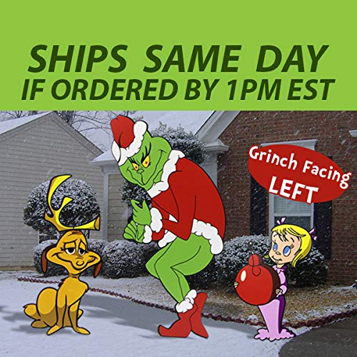 Left Facing Grinch Stealing Christmas Lights Yard Art All 3 Characters