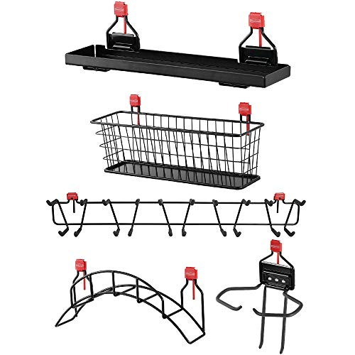 "Rubbermaid Shed Shelf, Wire Basket, 34"" Tool Rack, Power Tool & Hose Holder"