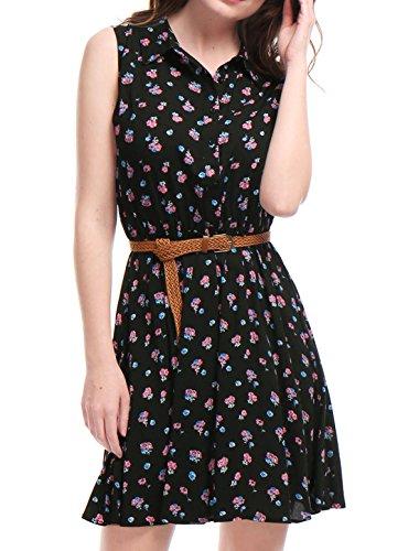Allegra K Damen Ärmellos Button Muster Shirtkleid Kleid mit Gürtel Schwarz Blumen M