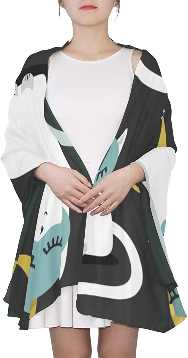 Lightweight Women Scarf Cat Love Moon Cartoon Fashion Scarf Lightweight Wrist Scarfs For Women Lightweight Print Scarves Womens Wrap Shawl Travel Scarf Lightweight